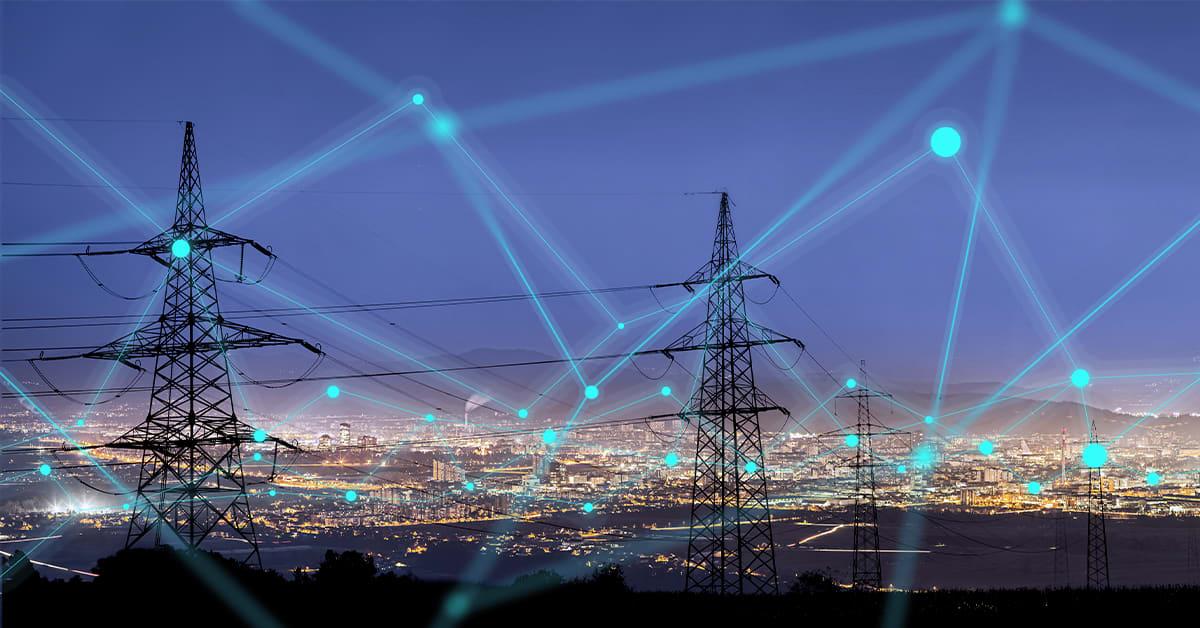 Strommasten und Smart Grid