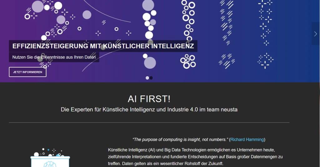 Screenshot alte Homepage neusta sd West vor Relaunch