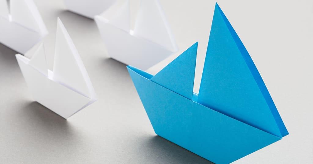 Papier Schiffe Blau Weiss